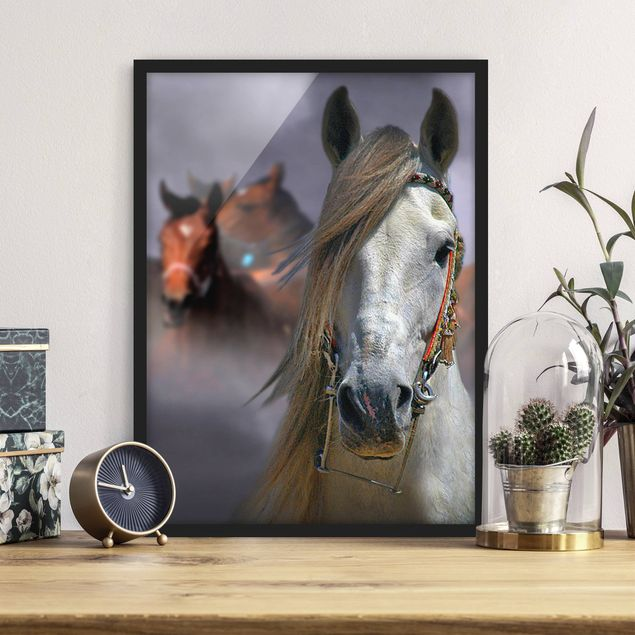 Poster con cornice - Horses In The Dust - Verticale 4:3