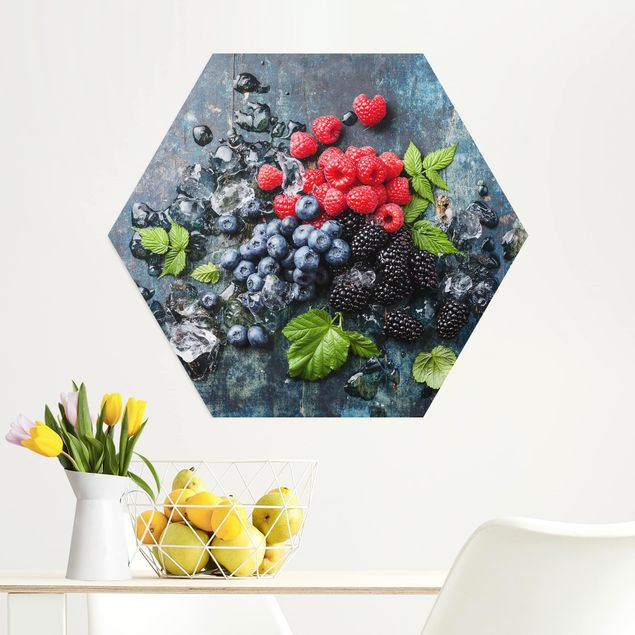 Esagono in Alu-dibond - Berry Mix Con Ghiaccio cubi di legno