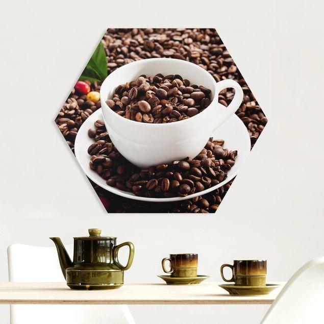 Esagono in forex - Fagioli della tazza di caffè con caffè tostato