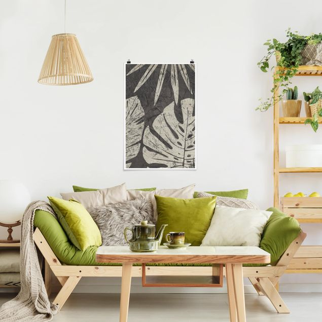Poster - Foglie di palma confronti di un grigio scuro - Verticale 3:2