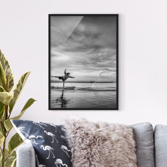 Poster con cornice - Fisherman Casts Net - Verticale 4:3