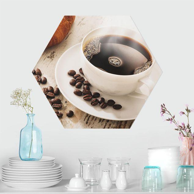 Esagono in forex - Fagioli caffè fumante tazza di caffè