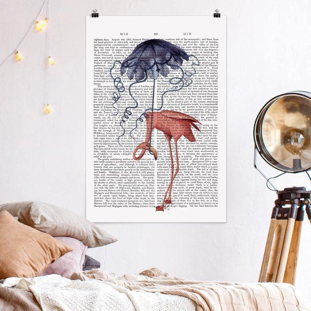 Poster - Reading Animal - Flamingo con l'ombrello - Verticale 3:2