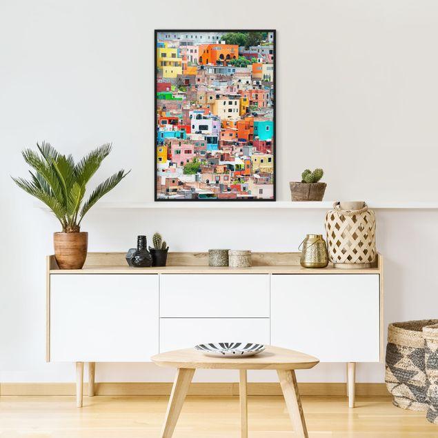 Poster con cornice - Colored Houses Front Guanajuato - Verticale 4:3