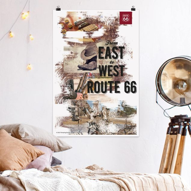 Poster - Route 66 - Collage est a ovest - Verticale 3:2