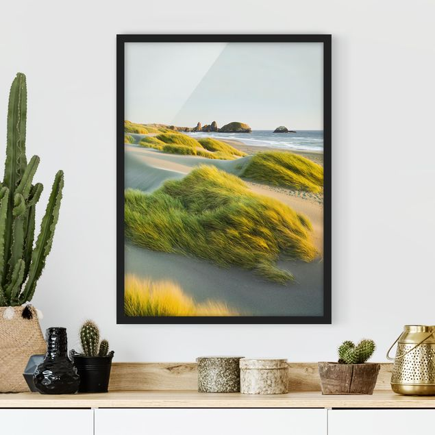 Poster con cornice - Dunes And Grasses At The Sea - Verticale 4:3