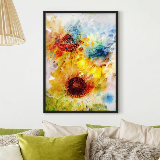 Poster con cornice - Watercolor Sunflowers - Verticale 4:3