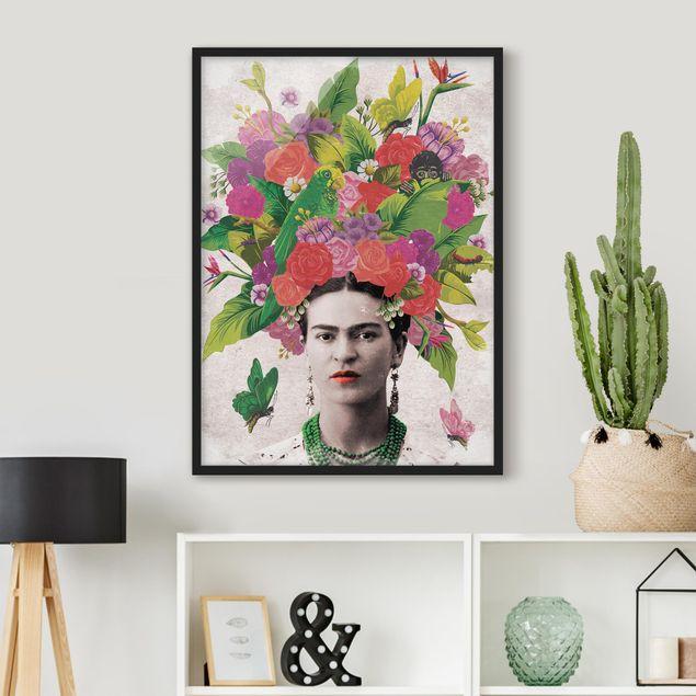 Poster con cornice - Frida Kahlo - Flower Portrait - Verticale 4:3