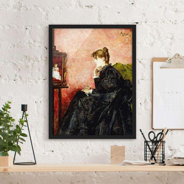 Poster con cornice - Alfred Stevens - Lady In Black - Verticale 4:3