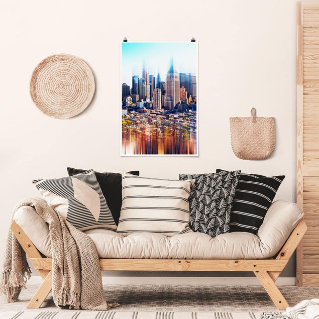 Poster - Manhattan Skyline urbano Stretch - Verticale 3:2