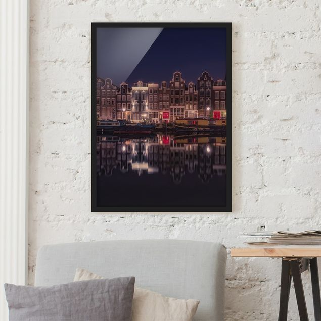 Poster con cornice - Houseboats In Amsterdam - Verticale 4:3