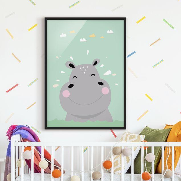 Poster con cornice - The Happy Hippo - Verticale 4:3
