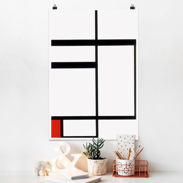 Poster - Piet Mondrian - Composizione Rosso Bianco - Verticale 3:2