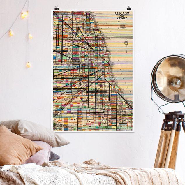 Poster - Moderna mappa di Chicago - Verticale 3:2