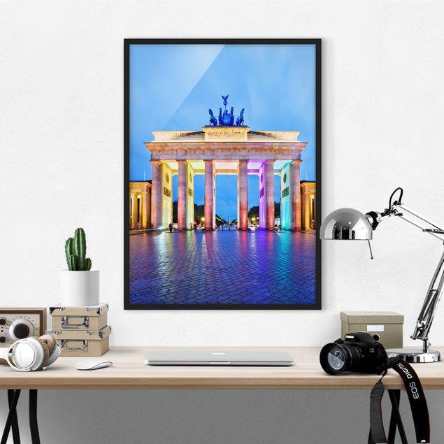 Poster con cornice - Illuminated Brandenburg Gate - Verticale 4:3