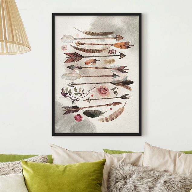 Poster con cornice - Boho Arrows And Feathers - Watercolor - Verticale 4:3