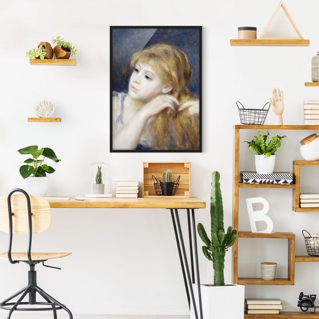Poster con cornice - Auguste Renoir - Head Of A Young Woman - Verticale 4:3