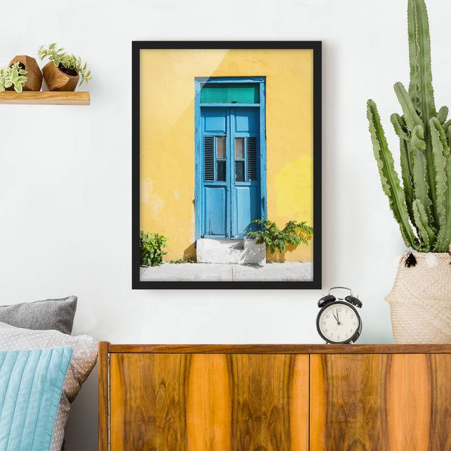 Poster con cornice - Colorful Wall Blue Door - Verticale 4:3