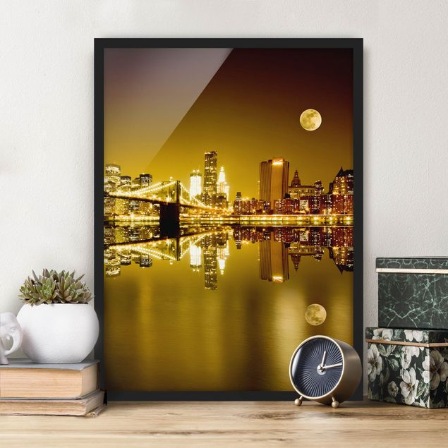 Poster con cornice - Golden New York - Verticale 4:3