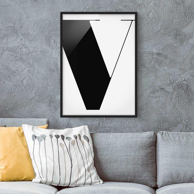 Poster con cornice - Antiqua Letter V - Verticale 4:3
