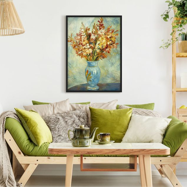 Poster con cornice - Auguste Renoir - Gladiolas In A Blue Vase - Verticale 4:3