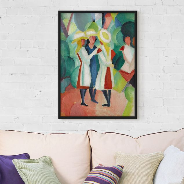 Poster con cornice - August Macke - Three Girls In Yellow Straw Hats - Verticale 4:3