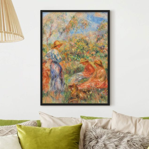 Poster con cornice - Auguste Renoir - Three Women And Child In A Landscape - Verticale 4:3