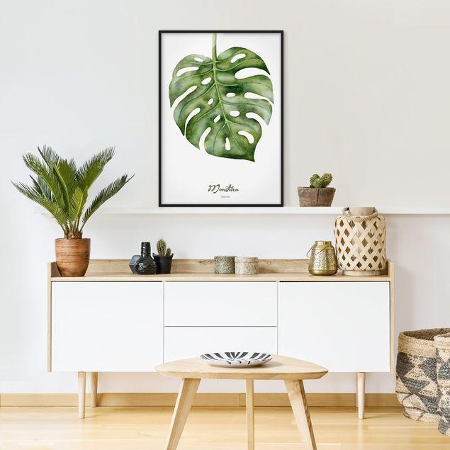 Poster con cornice - Watercolor Botany Monstera - Verticale 4:3
