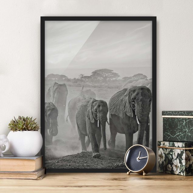 Poster con cornice - Herd Of Elephants - Verticale 4:3