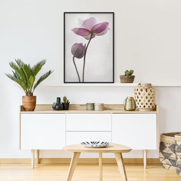 Poster con cornice - Anemones In Pink - Verticale 4:3