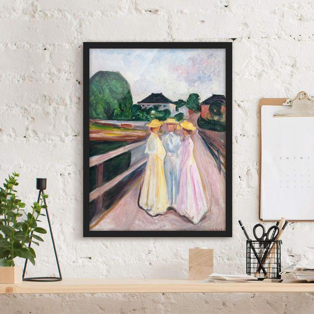 Poster con cornice - Edvard Munch - Three Girls On The Bridge - Verticale 4:3