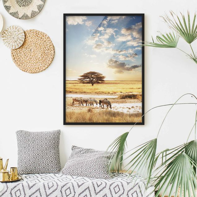 Poster con cornice - The Lives Of Zebras - Verticale 4:3