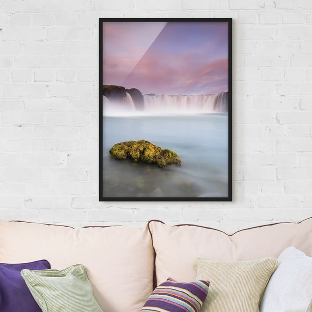 Poster con cornice - Goðafoss And The Moon - Verticale 4:3