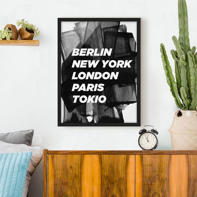 Poster con cornice - Berlin New York London - Verticale 4:3