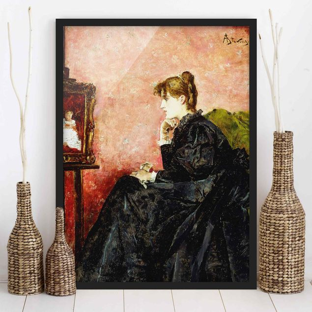 Poster con cornice - Alfred Stevens - Lady In Black - Verticale 4:3