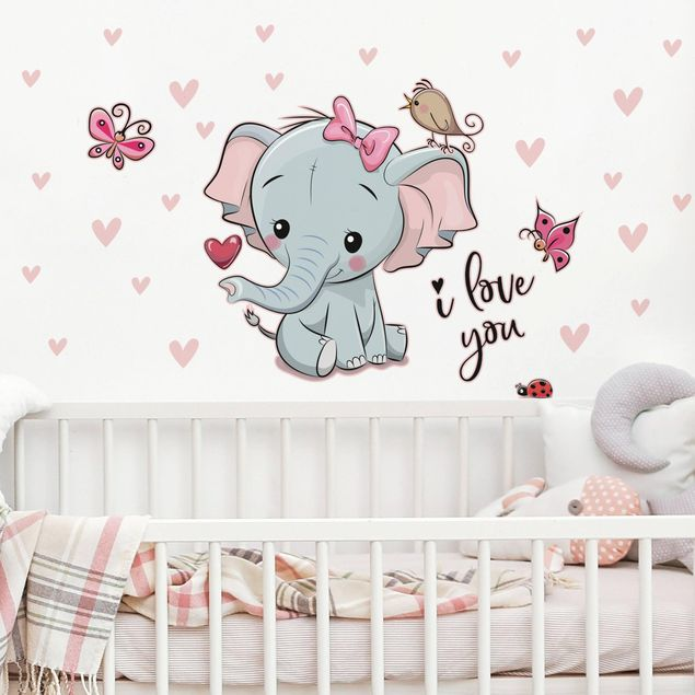 Adesivo murale bambini - Elefantina I love you