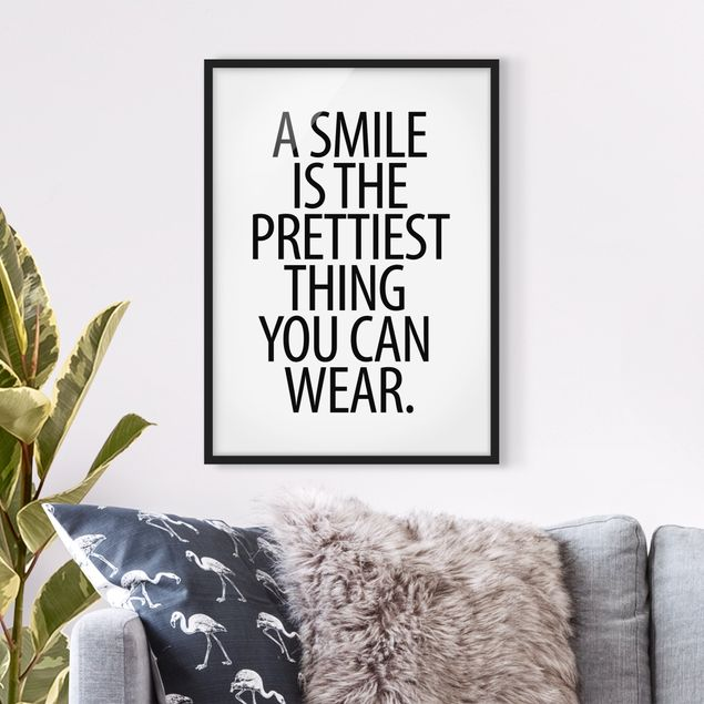 Poster con cornice - A Smile Is The Prettiest Thing Sans Serif - Verticale 4:3