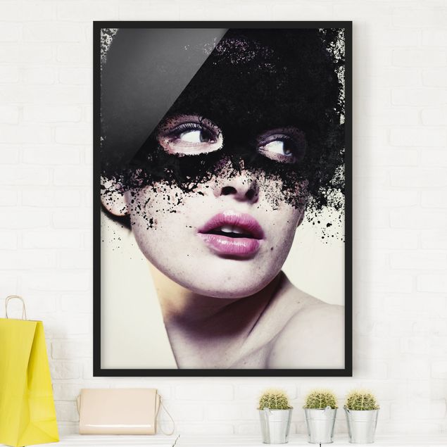 Poster con cornice - The Girl With The Black Mask - Verticale 4:3