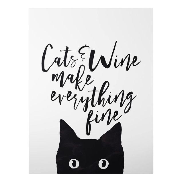 Quadro in alluminio - Cats And Wine Make Everything Fine