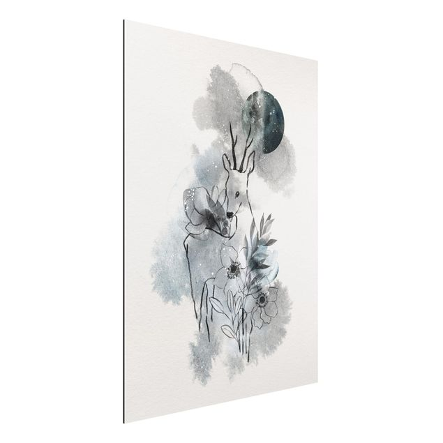 Quadro in alluminio - Deer And Moon