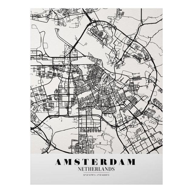 Quadro in alluminio - Amsterdam City Map - Classic