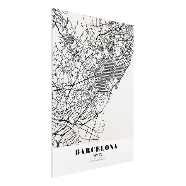 Quadro in alluminio - Barcelona City Map - Classic