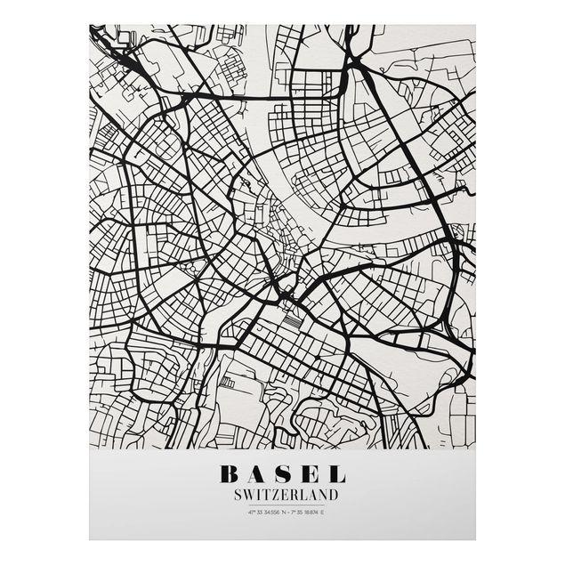 Quadro in alluminio - Basel City Map - Classic
