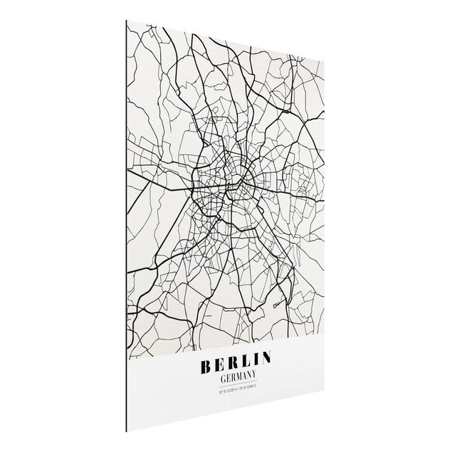 Quadro in alluminio - Berlin City Map - Classic