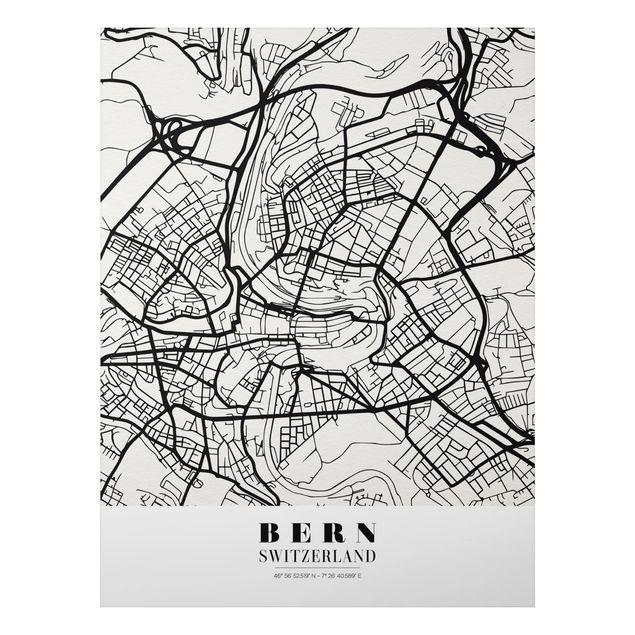 Quadro in alluminio - Bern City Map - Classical