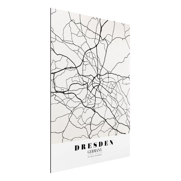 Quadro in alluminio - Dresden City Map - Classical