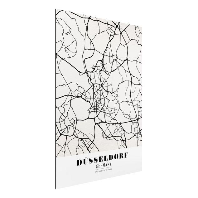 Quadro in alluminio - Dusseldorf City Map - Classic
