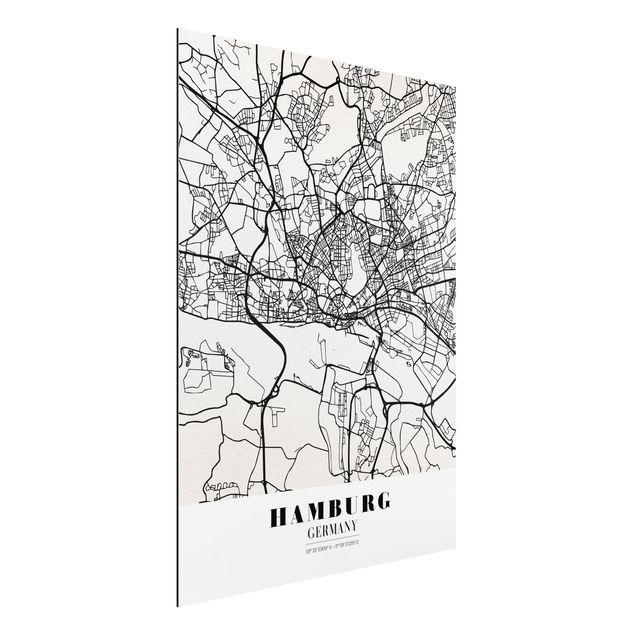 Quadro in alluminio - Hamburg City Map - Classic