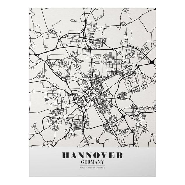 Quadro in alluminio - Hannover City Map - Classic