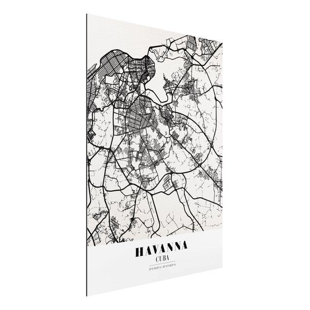 Quadro in alluminio - Havana City Map - Classic
